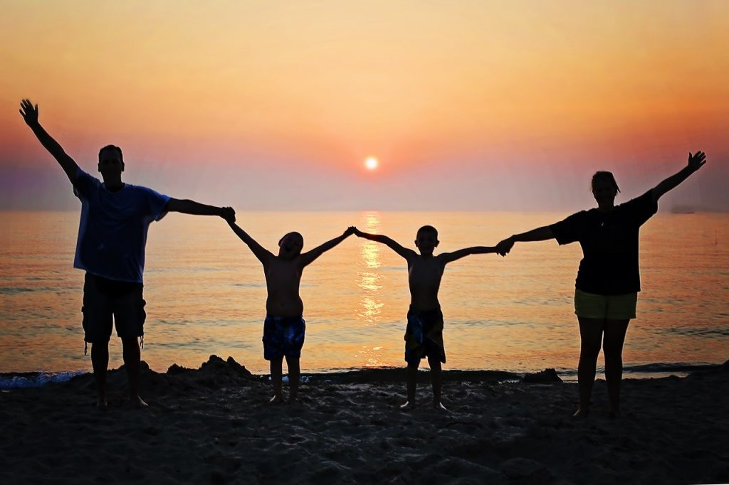family, sunset, beach